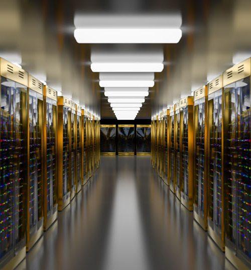 Servers. Server racks in server cloud data center. Datacenter hardware cluster. Backup, hosting, mainframe, farm and computer rack with storage information. 3D rendering. 3D illustration